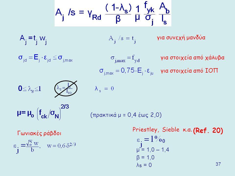 37 για συνεχή μανδύα για στοιχεία από χάλυβα για στοιχεία από ΙΟΠ (πρακτικά μ = 0,4 έως 2,0) Priestley, Sieble κ.α. 0 μ = 1,0 – 1,4 β = 1,0 λ s = 0 (R