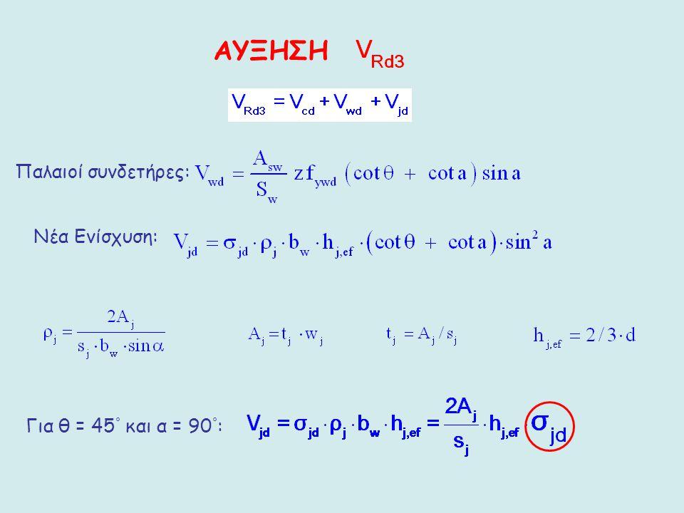 ΑΥΞΗΣΗ Για θ = 45 ° και α = 90 ° : Παλαιοί συνδετήρες: Νέα Ενίσχυση: