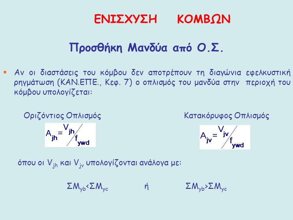 Προσθήκη Μανδύα από Ο.Σ.  Αν οι διαστάσεις του κόμβου δεν αποτρέπουν τη διαγώνια εφελκυστική ρηγμάτωση (ΚΑΝ.ΕΠΕ., Κεφ. 7) ο οπλισμός του μανδύα στην