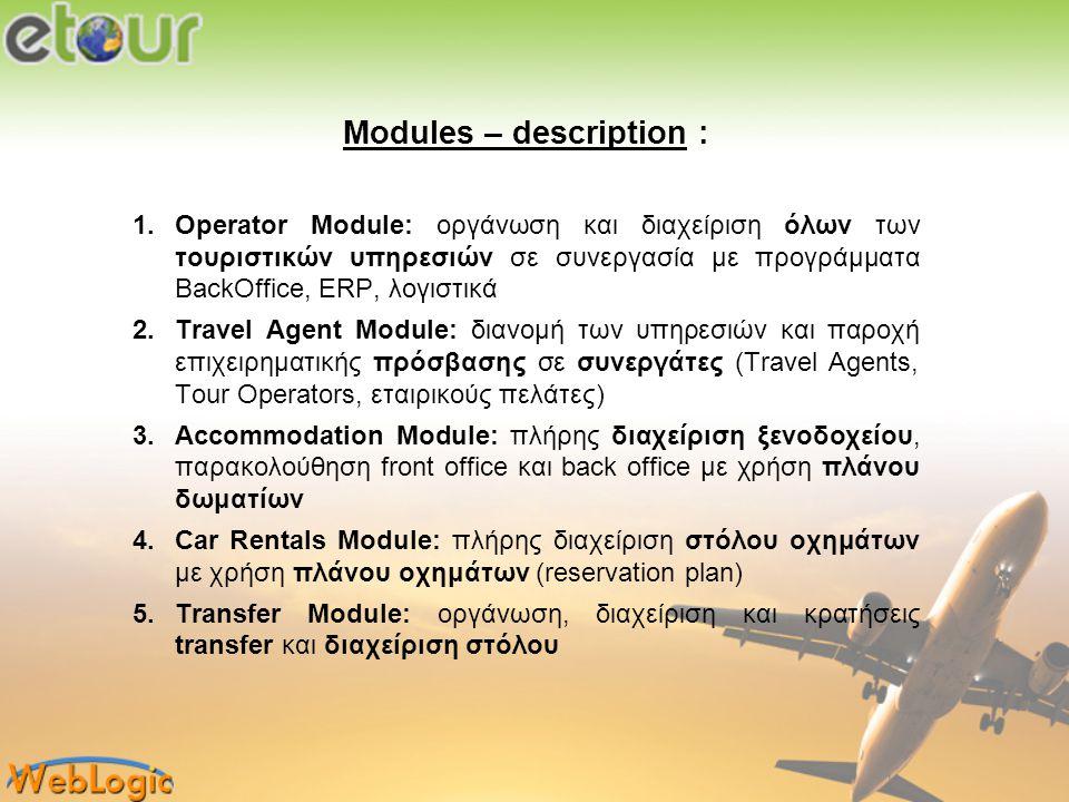 Modules - description : 7.Excursion Module: διαχείριση own και other εκδρομών, κρατήσεις και διαχείριση στόλου 8.Boat Rentals Module: πλήρης διαχείριση στόλου πλωτών με χρήση πλάνου οχημάτων 9.Real Estate Module: 10.Supplier Module: παροχή επιχειρηματικής πρόσβασης σε προμηθευτές υπηρεσιών 11.Representative Module: κρατήσεις εκδρομών από αντιπροσώπους της επιχείρησης ή συνεργατών τουριστικών επιχειρήσεων 12.Reservation Module: περιορισμένα δικαιώματα για κρατήσεις όλων των etour υπηρεσιών και διαχείριση κρατήσεων 13.Accounting Module: περιορισμένα δικαιώματα για διαχείριση όλων των λογιστικών κινήσεων και παραστατικών