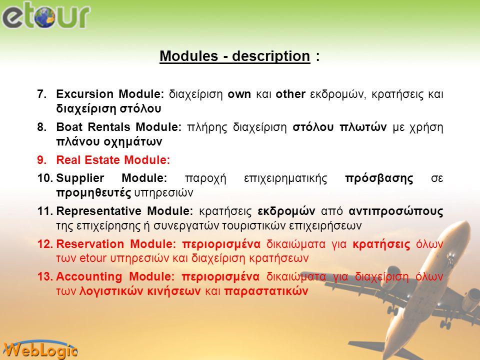 Modules - description : 7.Excursion Module: διαχείριση own και other εκδρομών, κρατήσεις και διαχείριση στόλου 8.Boat Rentals Module: πλήρης διαχείρισ