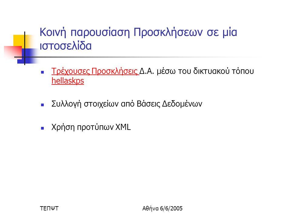 ΤΕΠΨΤΑθήνα 6/6/2005 Κοινή παρουσίαση Προσκλήσεων σε μία ιστοσελίδα  Τρέχουσες Προσκλήσεις Δ.Α.