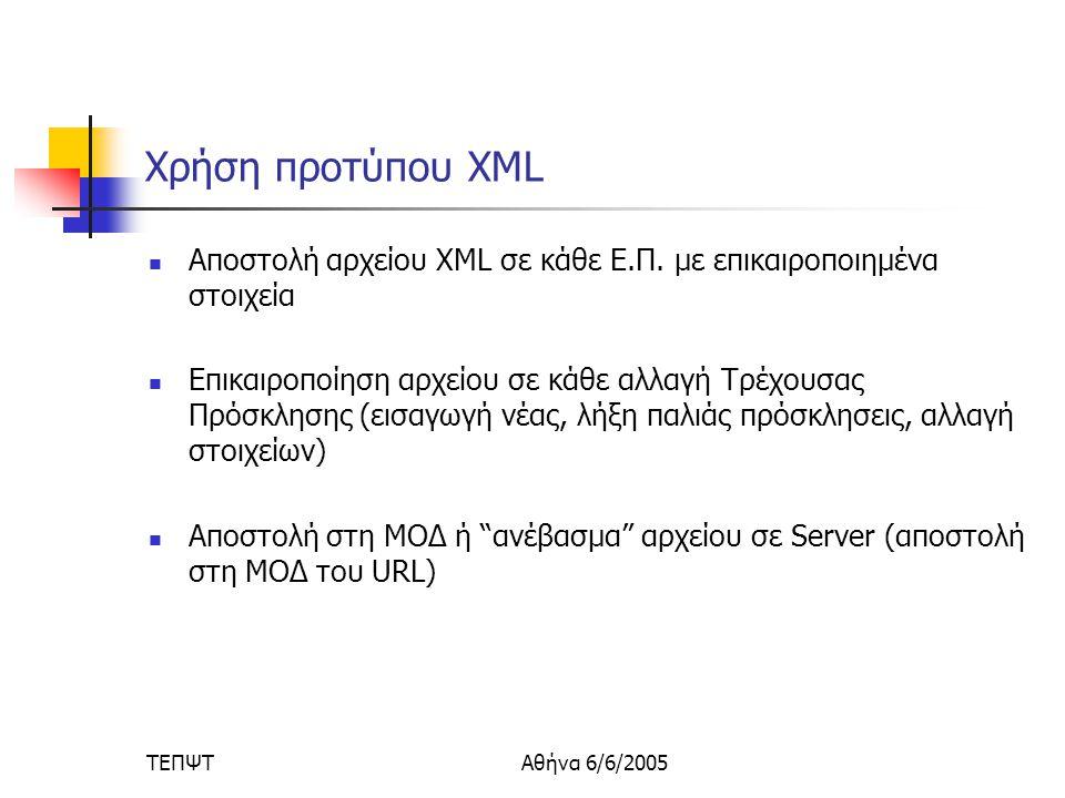 ΤΕΠΨΤΑθήνα 6/6/2005 Χρήση προτύπου XML  Αποστολή αρχείου XML σε κάθε Ε.Π.
