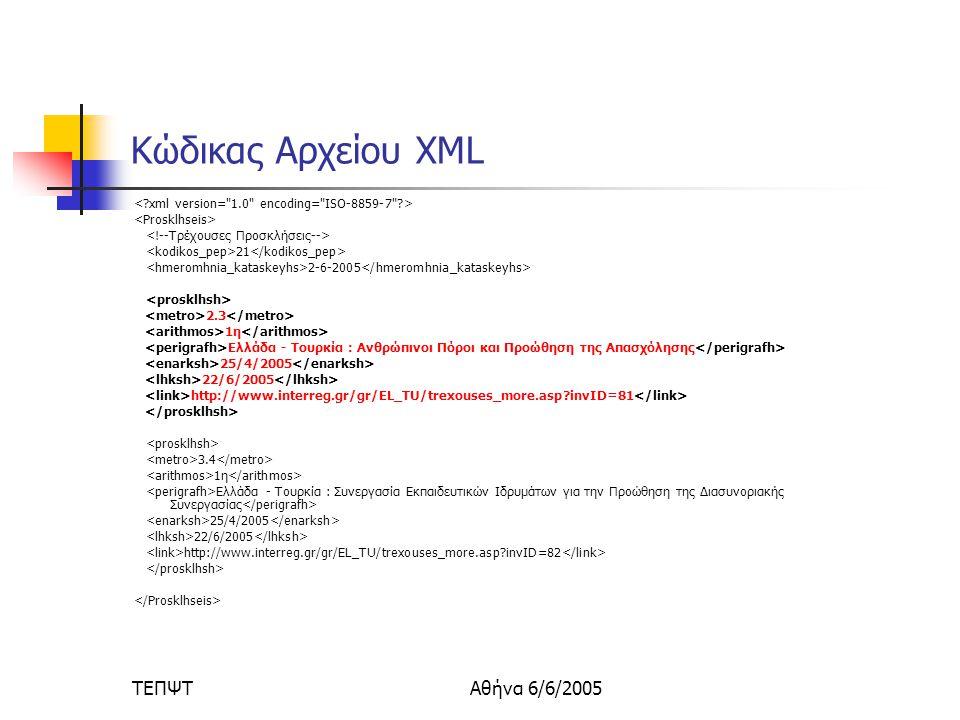 ΤΕΠΨΤΑθήνα 6/6/2005 Κώδικας Αρχείου XML 21 2-6-2005 2.3 1η Ελλάδα - Τουρκία : Ανθρώπινοι Πόροι και Προώθηση της Απασχόλησης 25/4/2005 22/6/2005 http://www.interreg.gr/gr/EL_TU/trexouses_more.asp invID=81 3.4 1η Ελλάδα - Τουρκία : Συνεργασία Εκπαιδευτικών Ιδρυμάτων για την Προώθηση της Διασυνοριακής Συνεργασίας 25/4/2005 22/6/2005 http://www.interreg.gr/gr/EL_TU/trexouses_more.asp invID=82
