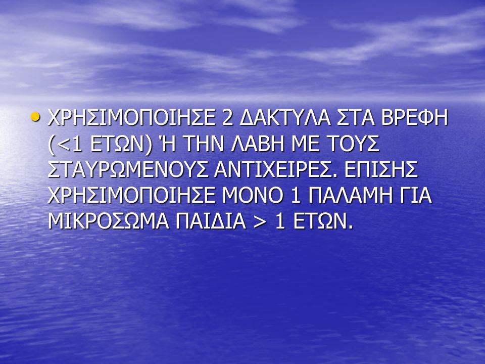 • ΧΡΗΣΙΜΟΠΟΙΗΣΕ 2 ΔΑΚΤΥΛΑ ΣΤΑ ΒΡΕΦΗ ( 1 ΕΤΩΝ.