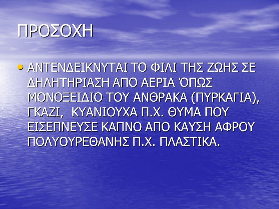 ΠΡΟΣΟΧΗ • ΑΝΤΕΝΔΕΙΚΝΥΤΑΙ ΤΟ ΦΙΛΙ ΤΗΣ ΖΩΗΣ ΣΕ ΔΗΛΗΤΗΡΙΑΣΗ ΑΠΟ ΑΕΡΙΑ ΌΠΩΣ ΜΟΝΟΞΕΙΔΙΟ ΤΟΥ ΑΝΘΡΑΚΑ (ΠΥΡΚΑΓΙΑ), ΓΚΑΖΙ, ΚΥΑΝΙΟΥΧΑ Π.Χ. ΘΥΜΑ ΠΟΥ ΕΙΣΕΠΝΕΥΣΕ Κ