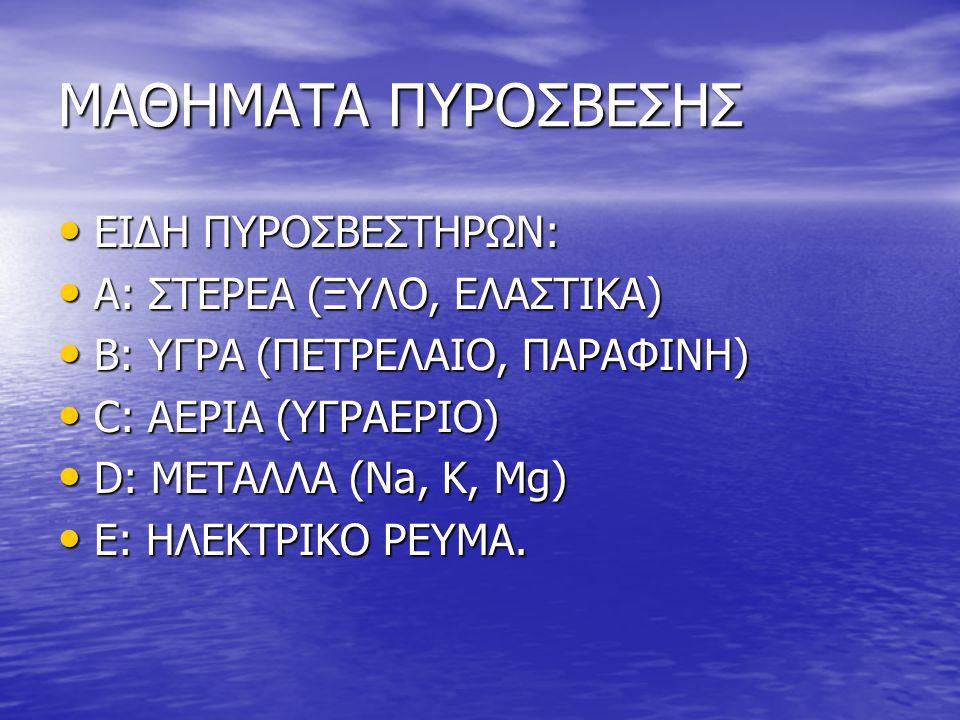 ΜΑΘΗΜΑΤΑ ΠΥΡΟΣΒΕΣΗΣ • ΕΙΔΗ ΠΥΡΟΣΒΕΣΤΗΡΩΝ: • Α: ΣΤΕΡΕΑ (ΞΥΛΟ, ΕΛΑΣΤΙΚΑ) • Β: ΥΓΡΑ (ΠΕΤΡΕΛΑΙΟ, ΠΑΡΑΦΙΝΗ) • C: ΑΕΡΙΑ (ΥΓΡΑΕΡΙΟ) • D: ΜΕΤΑΛΛΑ (Na, K, Mg)