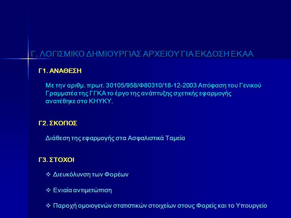 Γ. ΛΟΓΙΣΜΙΚΟ ΔΗΜΙΟΥΡΓΙΑΣ ΑΡΧΕΙΟΥ ΓΙΑ ΕΚΔΟΣΗ ΕΚΑΑ Γ1. ΑΝΑΘΕΣΗ Με την αριθμ. πρωτ. 30105/958/Φ80310/18-12-2003 Απόφαση του Γενικού Γραμματέα της ΓΓΚΑ το