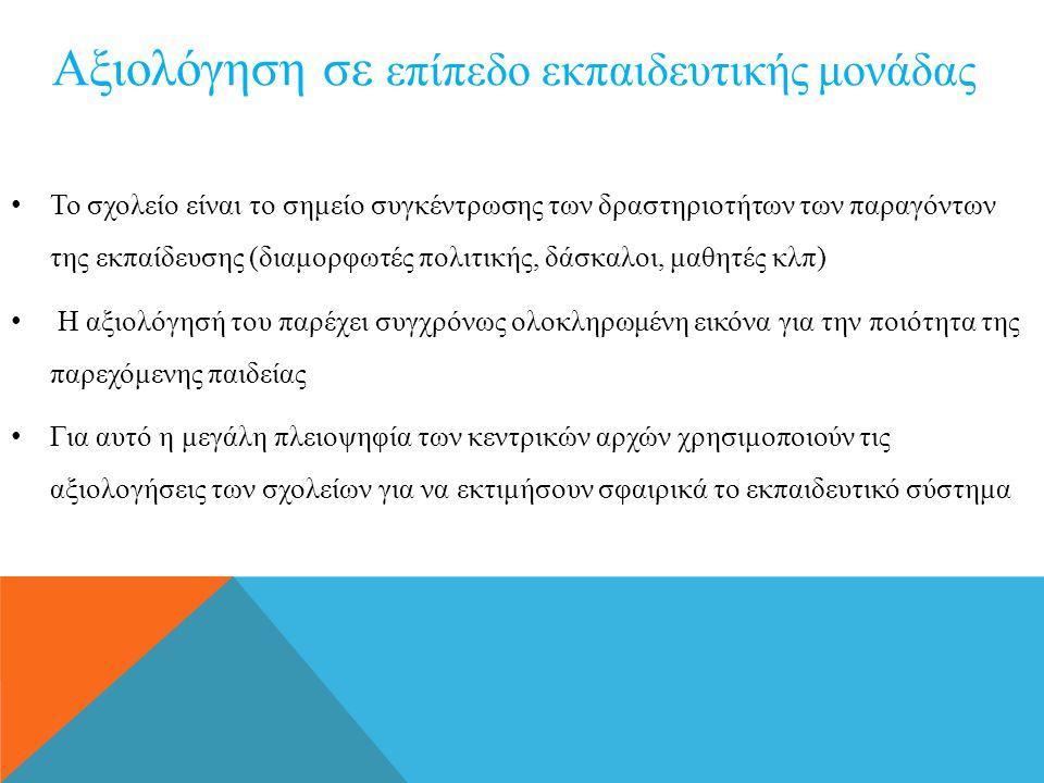 • Το σχολείο είναι το σημείο συγκέντρωσης των δραστηριοτήτων των παραγόντων της εκπαίδευσης (διαμορφωτές πολιτικής, δάσκαλοι, μαθητές κλπ) • Η αξιολόγ