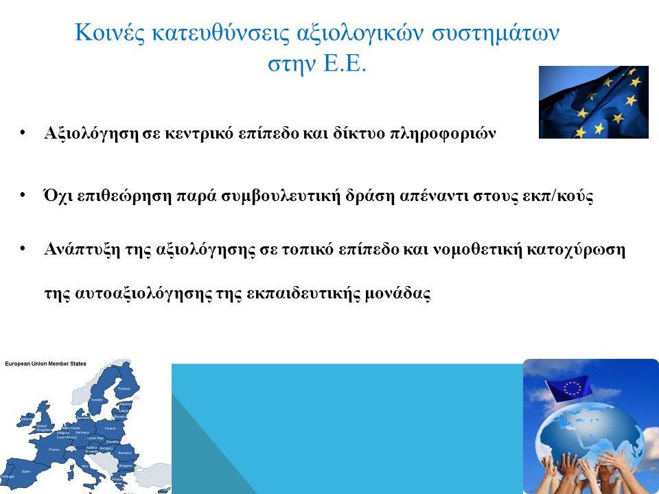 Κοινές κατευθύνσεις αξιολογικών συστημάτων στην Ε.Ε. • Αξιολόγηση σε κεντρικό επίπεδο και δίκτυο πληροφοριών • Όχι επιθεώρηση παρά συμβουλευτική δράση
