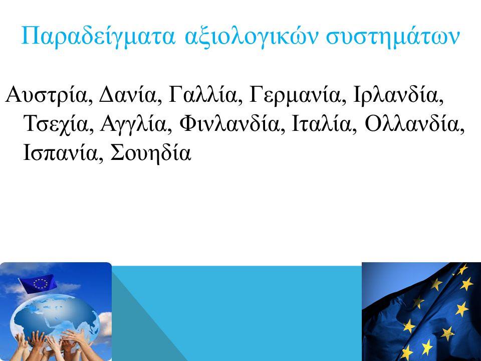 Παραδείγματα αξιολογικών συστημάτων Αυστρία, Δανία, Γαλλία, Γερμανία, Ιρλανδία, Τσεχία, Αγγλία, Φινλανδία, Ιταλία, Ολλανδία, Ισπανία, Σουηδία