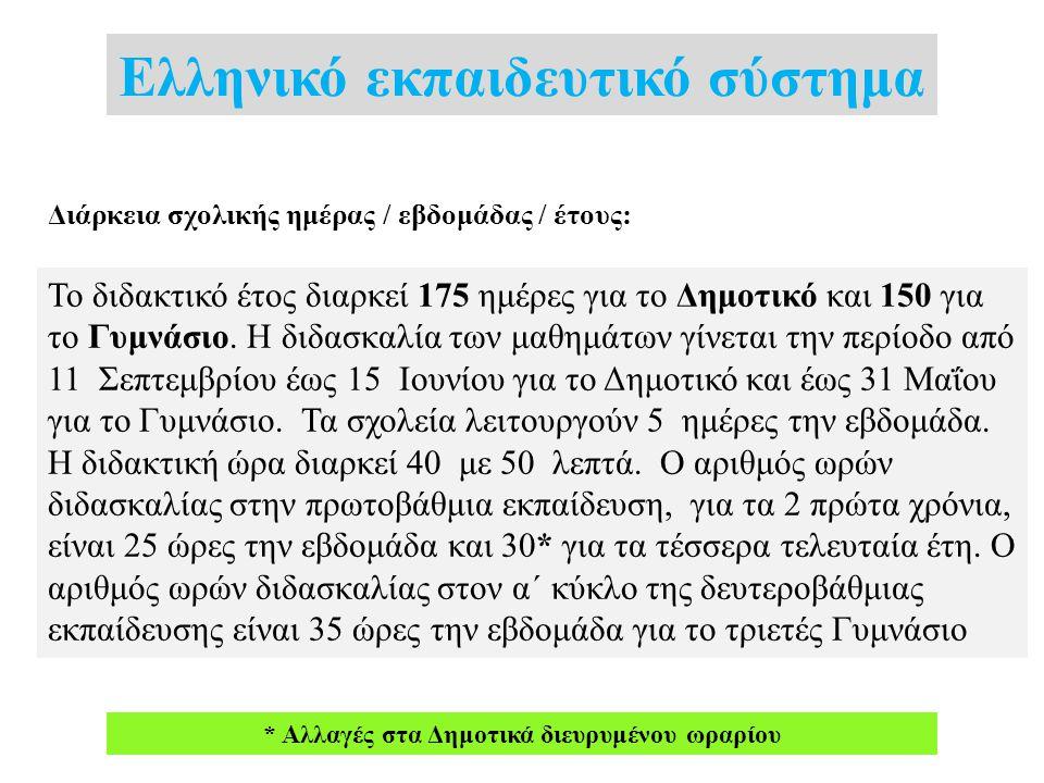 Ελληνικό εκπαιδευτικό σύστημα Διάρκεια σχολικής ημέρας / εβδομάδας / έτους: Το διδακτικό έτος διαρκεί 175 ημέρες για το Δημοτικό και 150 για το Γυμνάσ