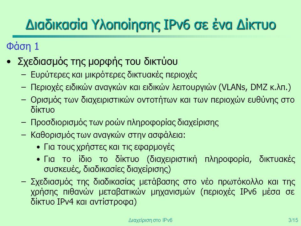 Διαχείριση στο IPv63/15 Διαδικασία Υλοποίησης IPv6 σε ένα Δίκτυο Φάση 1 •Σχεδιασμός της μορφής του δικτύου –Ευρύτερες και μικρότερες δικτυακές περιοχέ