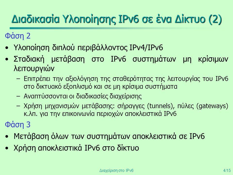 Διαχείριση στο IPv64/15 Διαδικασία Υλοποίησης IPv6 σε ένα Δίκτυο (2) Φάση 2 •Υλοποίηση διπλού περιβάλλοντος IPv4/IPv6 •Σταδιακή μετάβαση στο IPv6 συστ