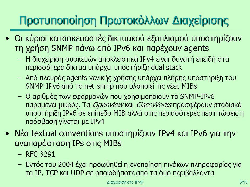 Διαχείριση στο IPv65/15 Προτυποποίηση Πρωτοκόλλων Διαχείρισης •Οι κύριοι κατασκευαστές δικτυακού εξοπλισμού υποστηρίζουν τη χρήση SNMP πάνω από IPv6 κ