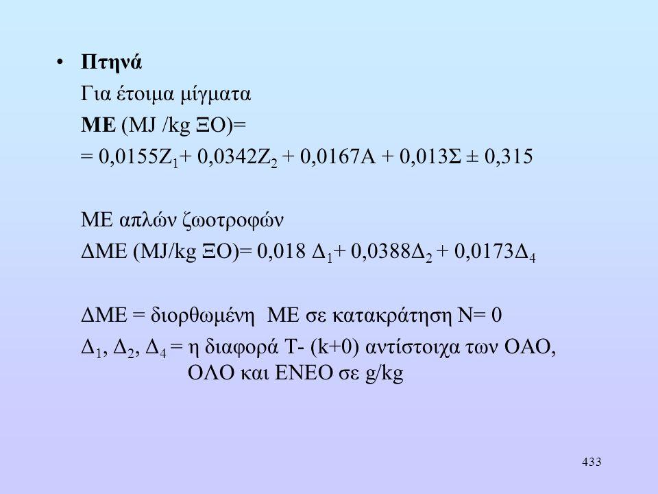 433 •Πτηνά Για έτοιμα μίγματα ΜΕ (MJ /kg ΞΟ)= = 0,0155Ζ 1 + 0,0342Ζ 2 + 0,0167Α + 0,013Σ ± 0,315 ΜΕ απλών ζωοτροφών ΔΜΕ (MJ/kg ΞΟ)= 0,018 Δ 1 + 0,0388Δ 2 + 0,0173Δ 4 ΔΜΕ = διορθωμένη ΜΕ σε κατακράτηση Ν= 0 Δ 1, Δ 2, Δ 4 = η διαφορά Τ- (k+0) αντίστοιχα των ΟΑΟ, ΟΛΟ και ΕΝΕΟ σε g/kg