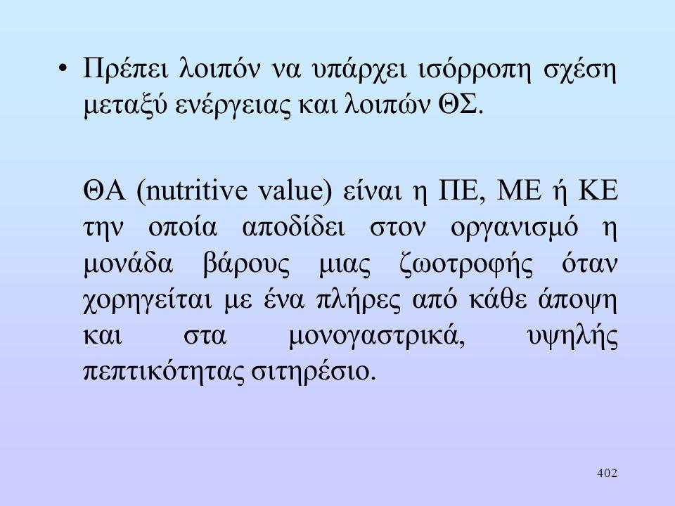 423 Εκτίμηση ΘΑ ζωοτροφών στην Ελλάδα για τα μηρυκαστικά Κ l = 0,60 όταν Μ= 0,57(Μ= RE: ME) Κ l = 0,60 [1+0,004 (M-57] Κ m = 0,00287 M + 0,554 (για Μ= 0,57K m =0,72) K m = K l σχετικά σταθερός Οι ενεργειακές δαπάνες συντήρησης μπορούν να εκφραστούν σε μονάδες ΚΕ l με ακρίβεια ΚΕ l = Καθαρή ενέργεια γαλακτοπαραγωγής