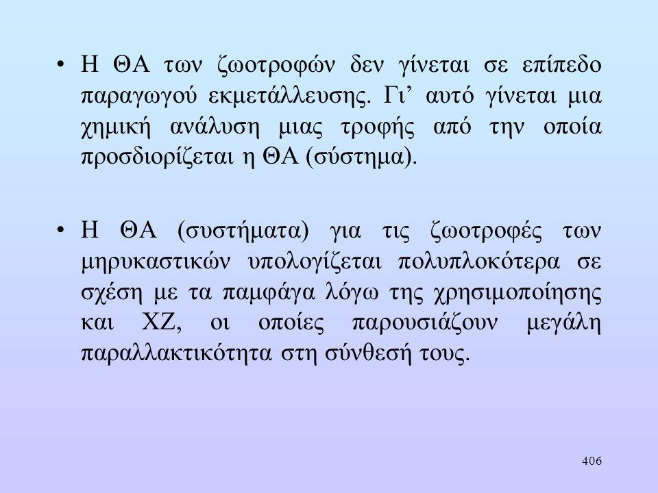 406 •Η ΘΑ των ζωοτροφών δεν γίνεται σε επίπεδο παραγωγού εκμετάλλευσης.