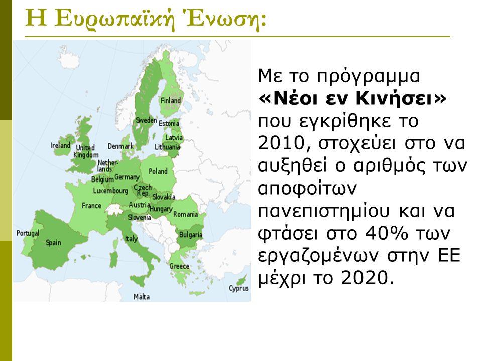 Η Ευρωπαϊκή Ένωση: Με το πρόγραμμα «Νέοι εν Κινήσει» που εγκρίθηκε το 2010, στοχεύει στο να αυξηθεί ο αριθμός των αποφοίτων πανεπιστημίου και να φτάσει στο 40% των εργαζομένων στην ΕΕ μέχρι το 2020.