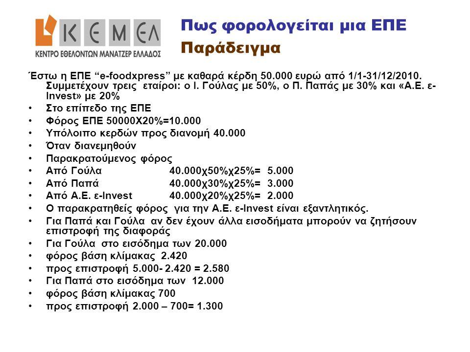 """Έστω η ΕΠΕ """"e-foodxpress"""" με καθαρά κέρδη 50.000 ευρώ από 1/1-31/12/2010. Συμμετέχουν τρεις εταίροι: ο Ι. Γούλας με 50%, ο Π. Παπάς με 30% και «Α.Ε. ε"""
