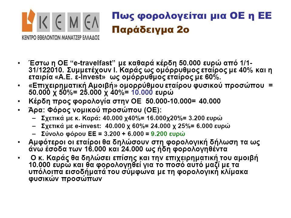 """•Έστω η ΟΕ """"e-travelfast"""" με καθαρά κέρδη 50.000 ευρώ από 1/1- 31/122010. Συμμετέχουν Ι. Καράς ως ομόρρυθμος εταίρος με 40% και η εταιρία «Α.Ε. ε-Ιnve"""