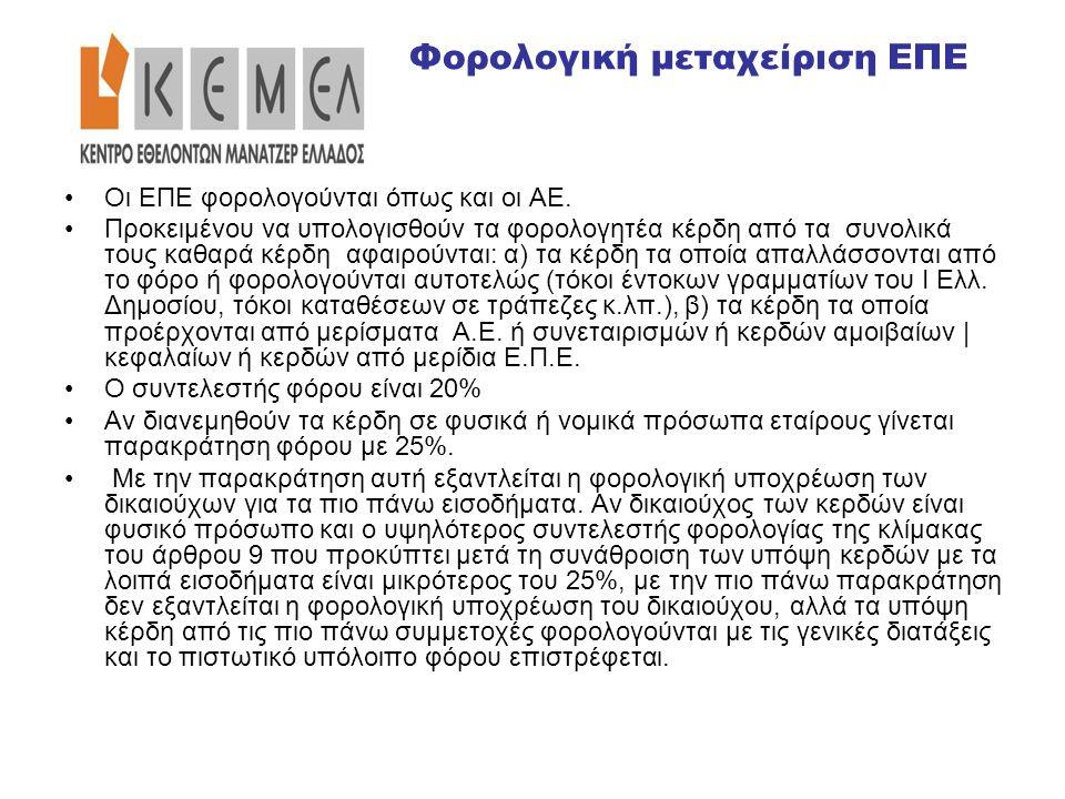 Έστω η ΕΠΕ e-foodxpress με καθαρά κέρδη 50.000 ευρώ από 1/1-31/12/2010.