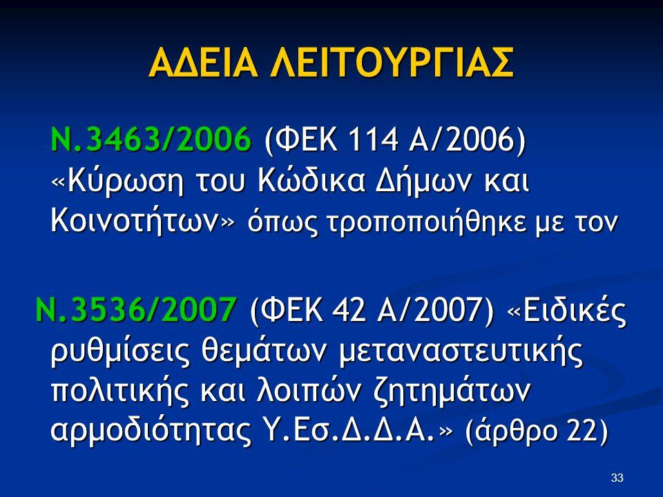 ΑΔΕΙΑ ΛΕΙΤΟΥΡΓΙΑΣ Ν.3463/2006 (ΦΕΚ 114 A/2006) «Κύρωση του Κώδικα Δήμων και Κοινοτήτων» όπως τροποποιήθηκε με τον Ν.3463/2006 (ΦΕΚ 114 A/2006) «Κύρωση