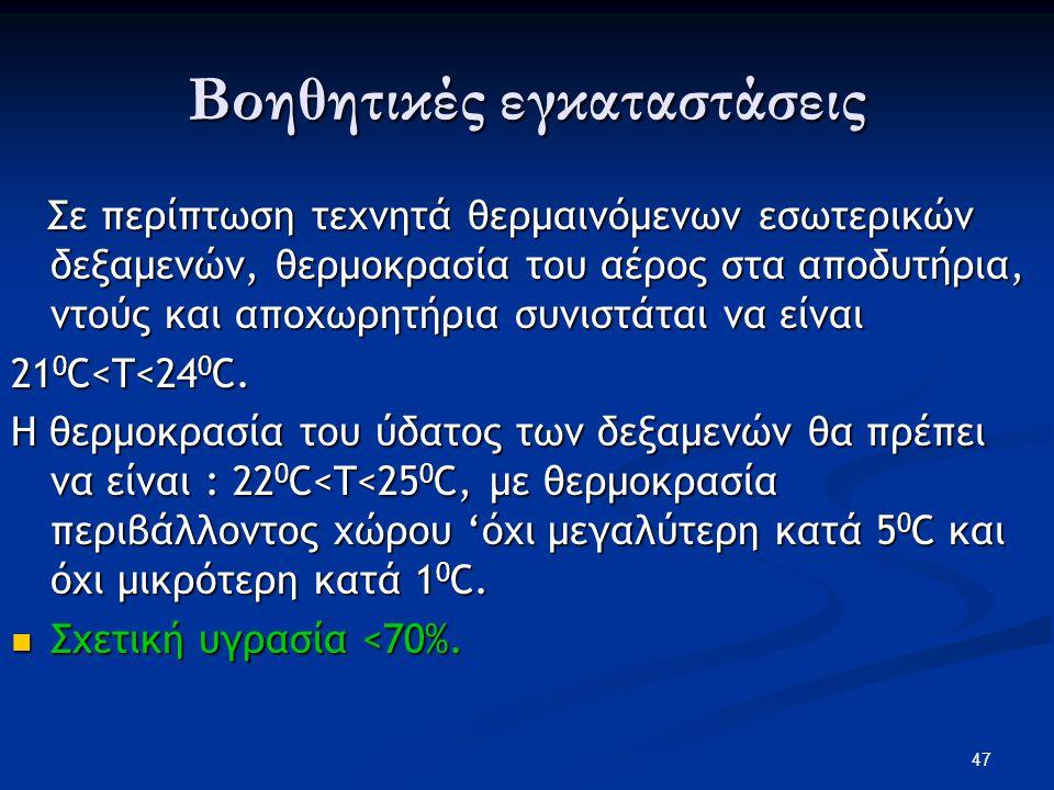 Βοηθητικές εγκαταστάσεις Σε περίπτωση τεχνητά θερμαινόμενων εσωτερικών δεξαμενών, θερμοκρασία του αέρος στα αποδυτήρια, ντούς και αποχωρητήρια συνιστά
