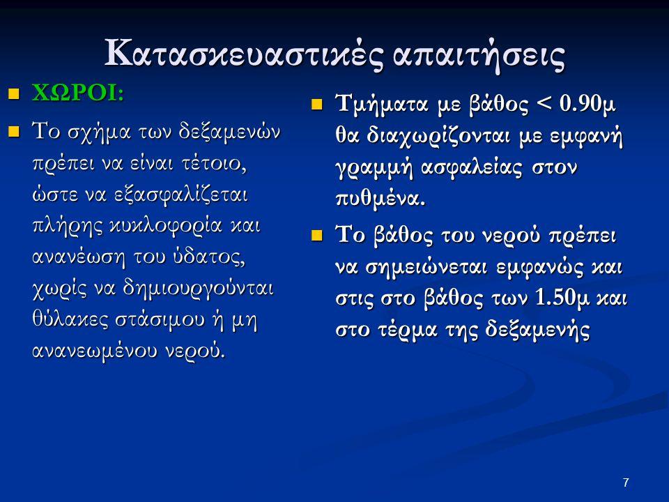 Κατασκευαστικές απαιτήσεις  ΔΙΑΣΤΑΣΕΙΣ:  Συνιστώνται ως ελάχιστες για ορθογωνικές δεξαμενές:  10μΧ20μ, κατά προτίμηση 12,5μΧ25μ και για τις παιδικές 6,0μΧ12,0μ.