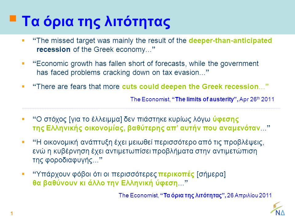 1  Τα όρια της λιτότητας  The missed target was mainly the result of the deeper-than-anticipated recession of the Greek economy...  Economic growth has fallen short of forecasts, while the government has faced problems cracking down on tax evasion...  There are fears that more cuts could deepen the Greek recession... The Economist, The limits of austerity , Apr 26 th 2011  Ο στόχος [για το έλλειμμα] δεν πιάστηκε κυρίως λόγω ύφεσης της Ελληνικής οικονομίας, βαθύτερης απ' αυτήν που αναμενόταν...  Η οικονομική ανάπτυξη έχει μειωθεί περισσότερο από τις προβλέψεις, ενώ η κυβέρνηση έχει αντιμετωπίσει προβλήματα στην αντιμετώπιση της φοροδιαφυγής...  Υπάρχουν φόβοι ότι οι περισσότερες περικοπές [σήμερα] θα βαθύνουν κι άλλο την Ελληνική ύφεση... The Economist, Τα όρια της λιτότητας , 26 Απριλίου 2011