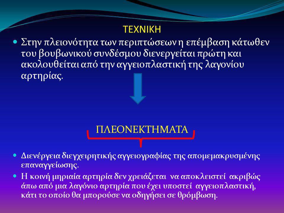 ΤΕΧΝΙΚΗ  Αποκλεισμός της μηριαίας αρτηρίας απαγορεύεται σε περίπτωση που η αγγειοπλαστική διενεργείται σε βλάβη της έξω λαγονίου αρτηρίας.