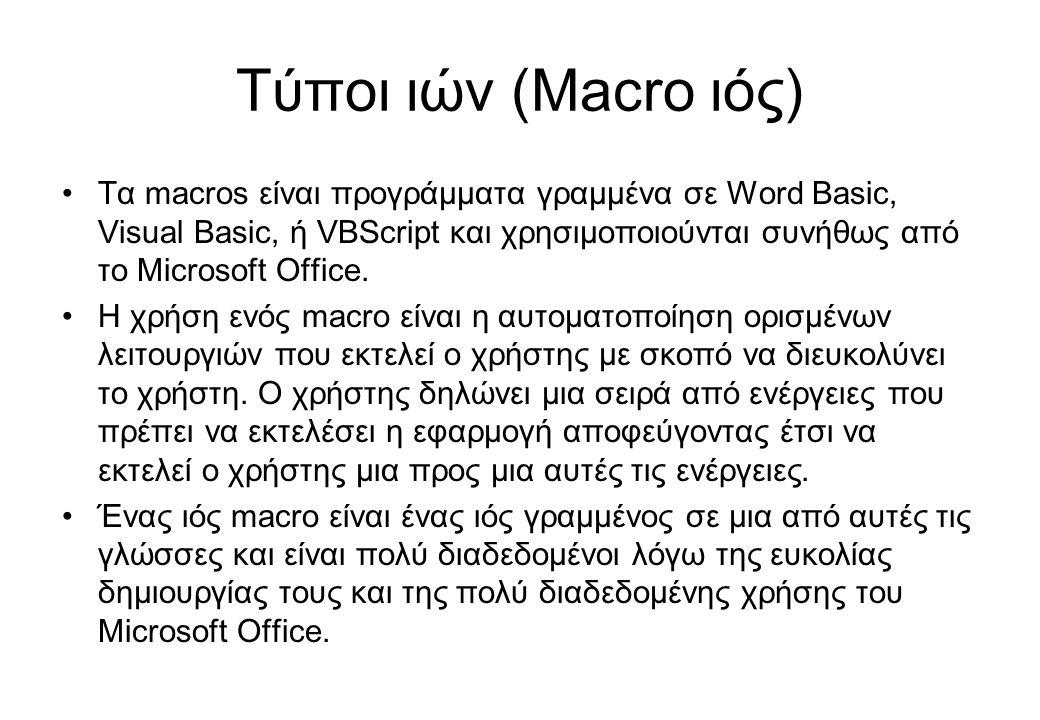 Τύποι ιών (Macro ιός) •Τα macros είναι προγράμματα γραμμένα σε Word Basic, Visual Basic, ή VBScript και χρησιμοποιούνται συνήθως από το Microsoft Offi