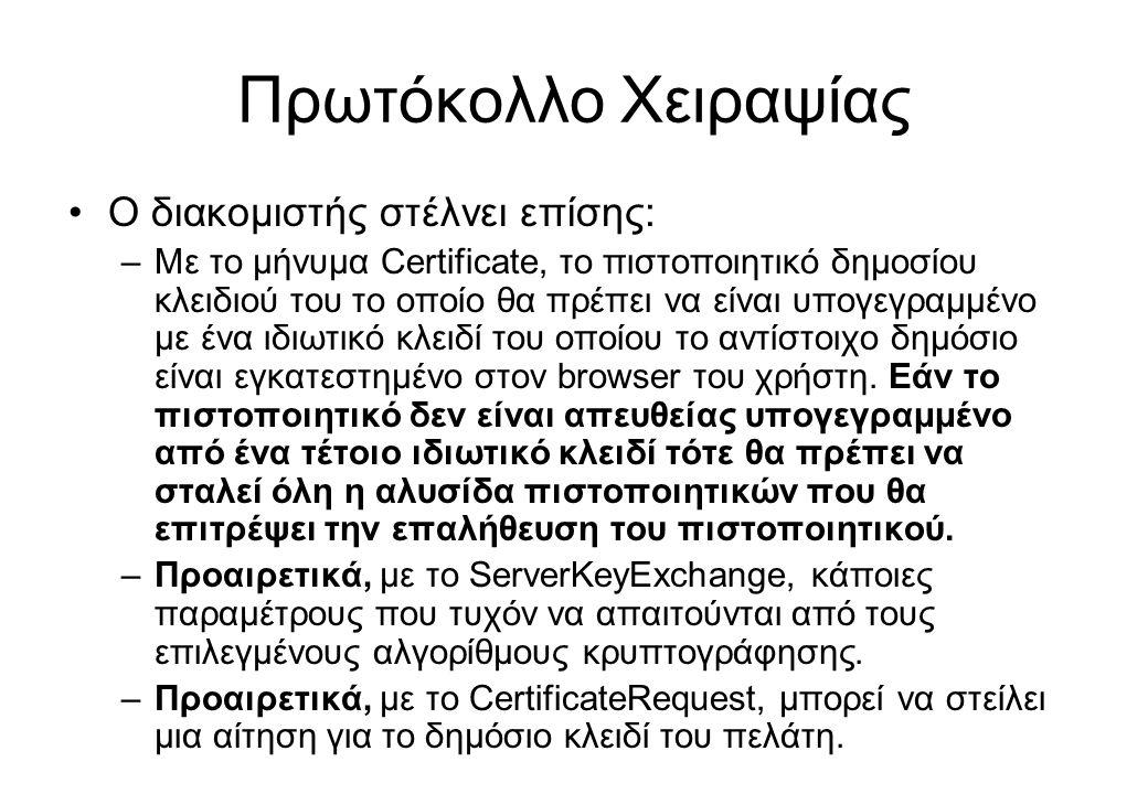 Πρωτόκολλο Χειραψίας •Ο διακομιστής στέλνει επίσης: –Με το μήνυμα Certificate, το πιστοποιητικό δημοσίου κλειδιού του το οποίο θα πρέπει να είναι υπογ