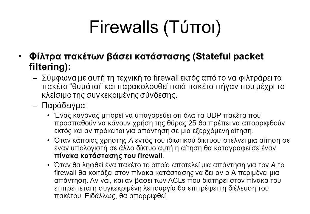 Firewalls (Τύποι) •Φίλτρα πακέτων βάσει κατάστασης (Stateful packet filtering): –Σύμφωνα με αυτή τη τεχνική το firewall εκτός από το να φιλτράρει τα π