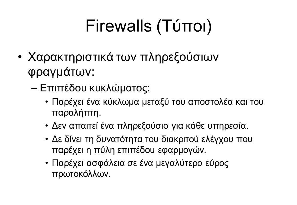 Firewalls (Τύποι) •Χαρακτηριστικά των πληρεξούσιων φραγμάτων: –Επιπέδου κυκλώματος: •Παρέχει ένα κύκλωμα μεταξύ του αποστολέα και του παραλήπτη. •Δεν