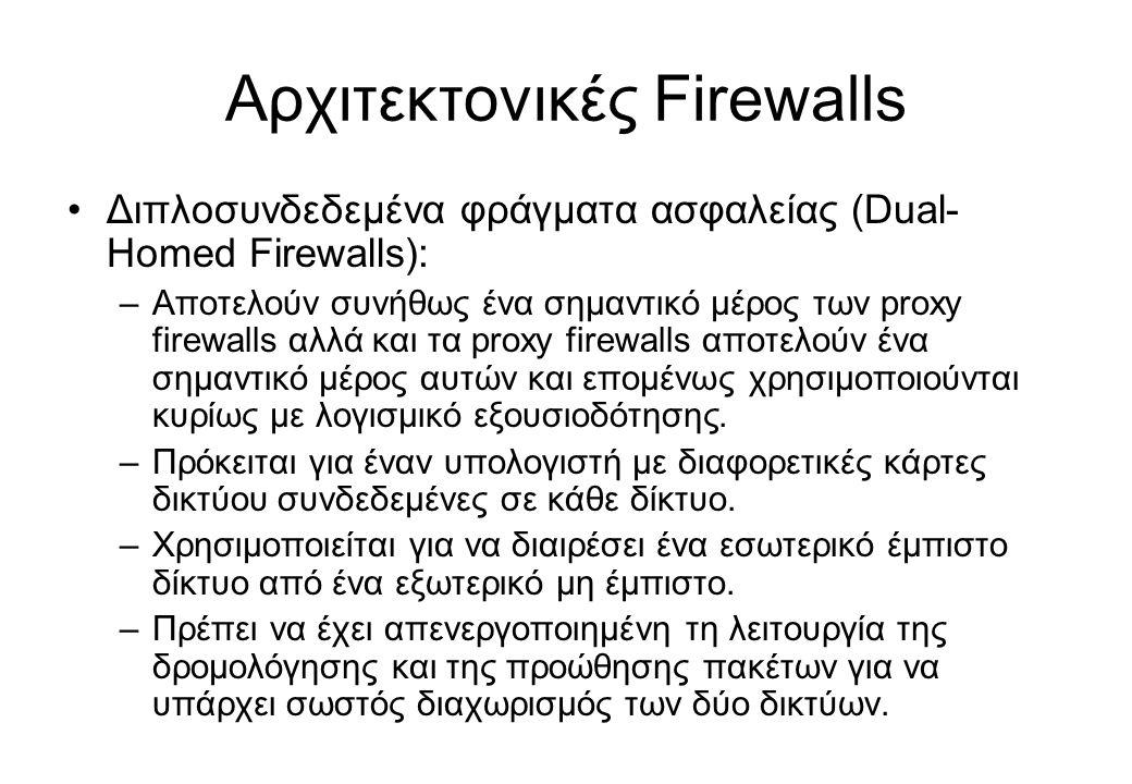 Αρχιτεκτονικές Firewalls •Διπλοσυνδεδεμένα φράγματα ασφαλείας (Dual- Homed Firewalls): –Αποτελούν συνήθως ένα σημαντικό μέρος των proxy firewalls αλλά