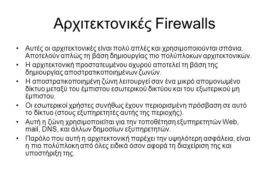 Αρχιτεκτονικές Firewalls •Αυτές οι αρχιτεκτονικές είναι πολύ απλές και χρησιμοποιούνται σπάνια. Αποτελούν απλώς τη βάση δημιουργίας πιο πολύπλοκων αρχ