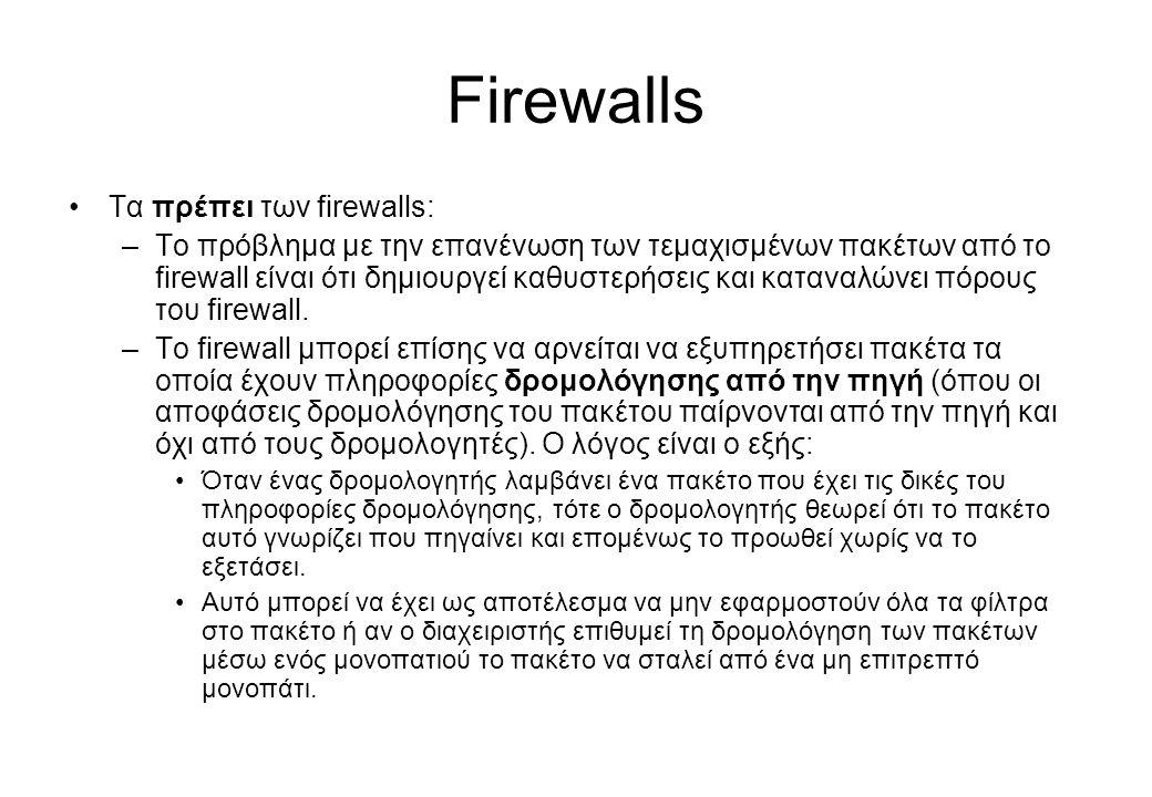 Firewalls •Τα πρέπει των firewalls: –Το πρόβλημα με την επανένωση των τεμαχισμένων πακέτων από το firewall είναι ότι δημιουργεί καθυστερήσεις και κατα