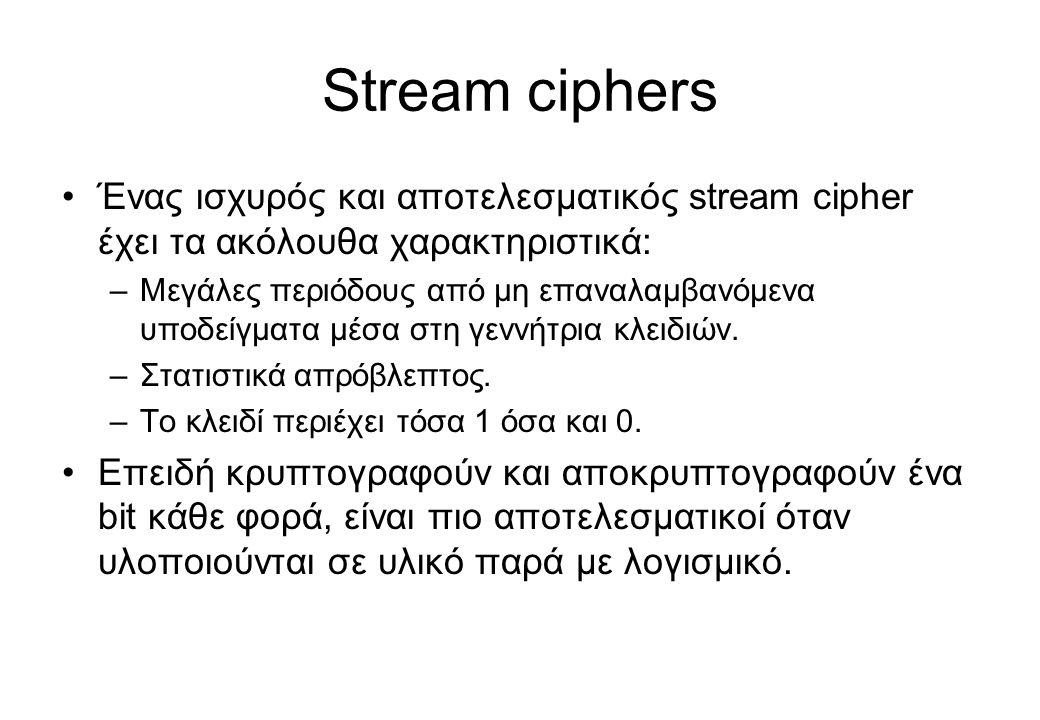 Stream ciphers •Ένας ισχυρός και αποτελεσματικός stream cipher έχει τα ακόλουθα χαρακτηριστικά: –Μεγάλες περιόδους από μη επαναλαμβανόμενα υποδείγματα