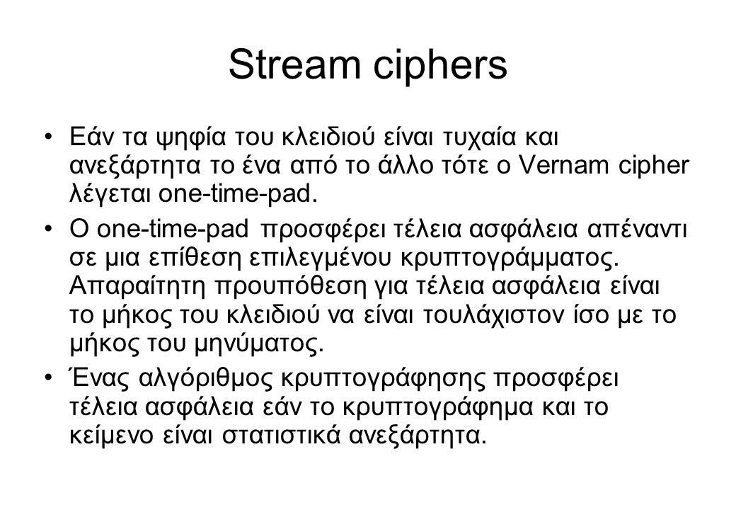 Stream ciphers •Εάν τα ψηφία του κλειδιού είναι τυχαία και ανεξάρτητα το ένα από το άλλο τότε ο Vernam cipher λέγεται one-time-pad. •O one-time-pad πρ