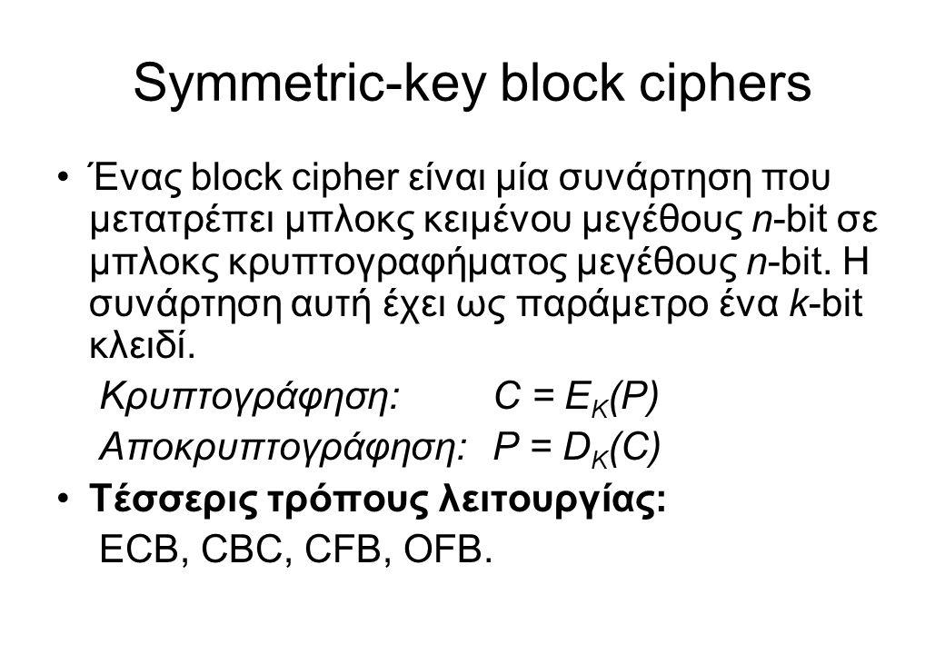 Symmetric-key block ciphers •Ένας block cipher είναι μία συνάρτηση που μετατρέπει μπλοκς κειμένου μεγέθους n-bit σε μπλοκς κρυπτογραφήματος μεγέθους n