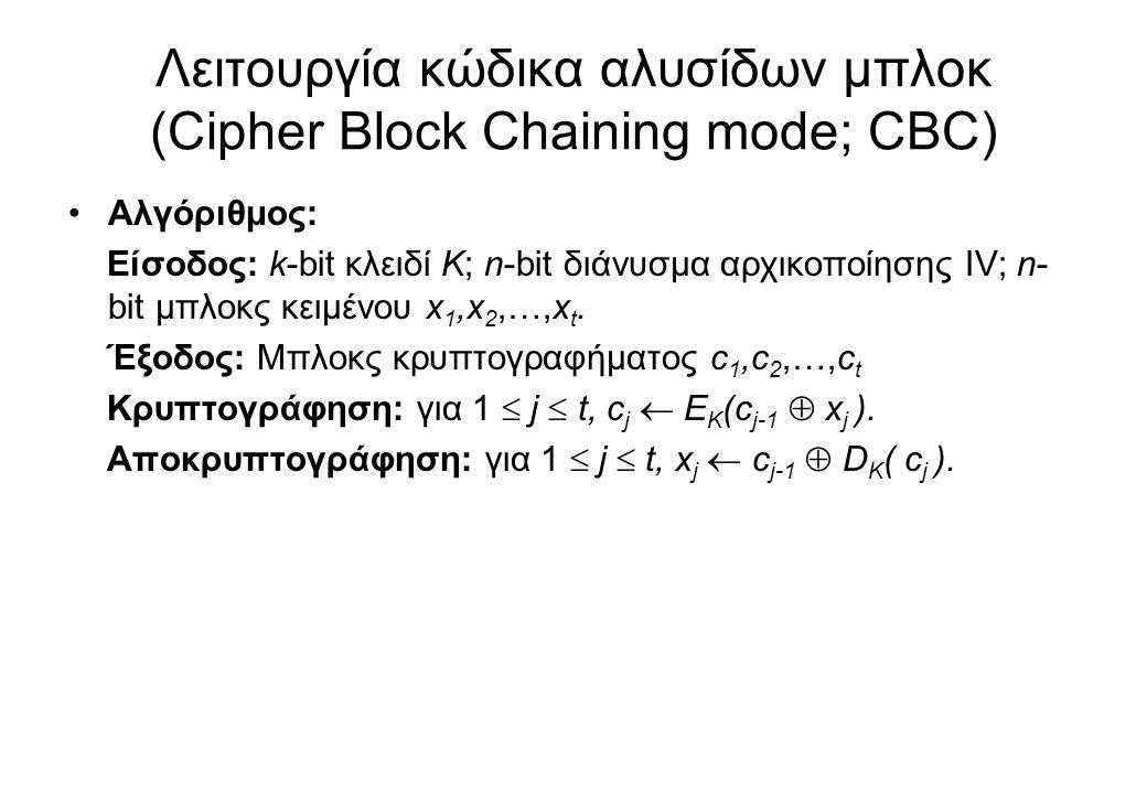 Λειτουργία κώδικα αλυσίδων μπλοκ (Cipher Block Chaining mode; CBC) •Αλγόριθμος: Είσοδος: k-bit κλειδί K; n-bit διάνυσμα αρχικοποίησης IV; n- bit μπλοκ