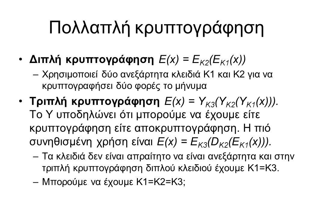 Πολλαπλή κρυπτογράφηση •Διπλή κρυπτογράφηση E(x) = E K2 (E K1 (x)) –Χρησιμοποιεί δύο ανεξάρτητα κλειδιά K1 και Κ2 για να κρυπτογραφήσει δύο φορές το μ
