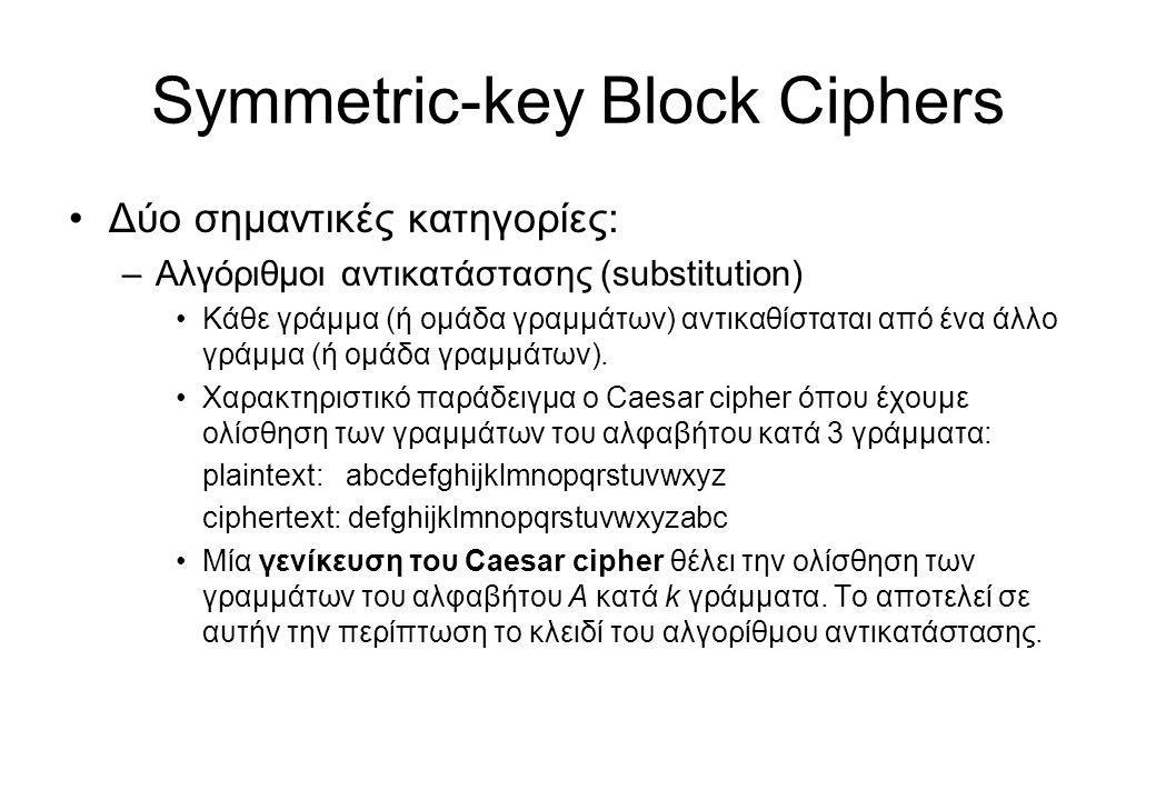 Symmetric-key Block Ciphers •Δύο σημαντικές κατηγορίες: –Αλγόριθμοι αντικατάστασης (substitution) •Κάθε γράμμα (ή ομάδα γραμμάτων) αντικαθίσταται από