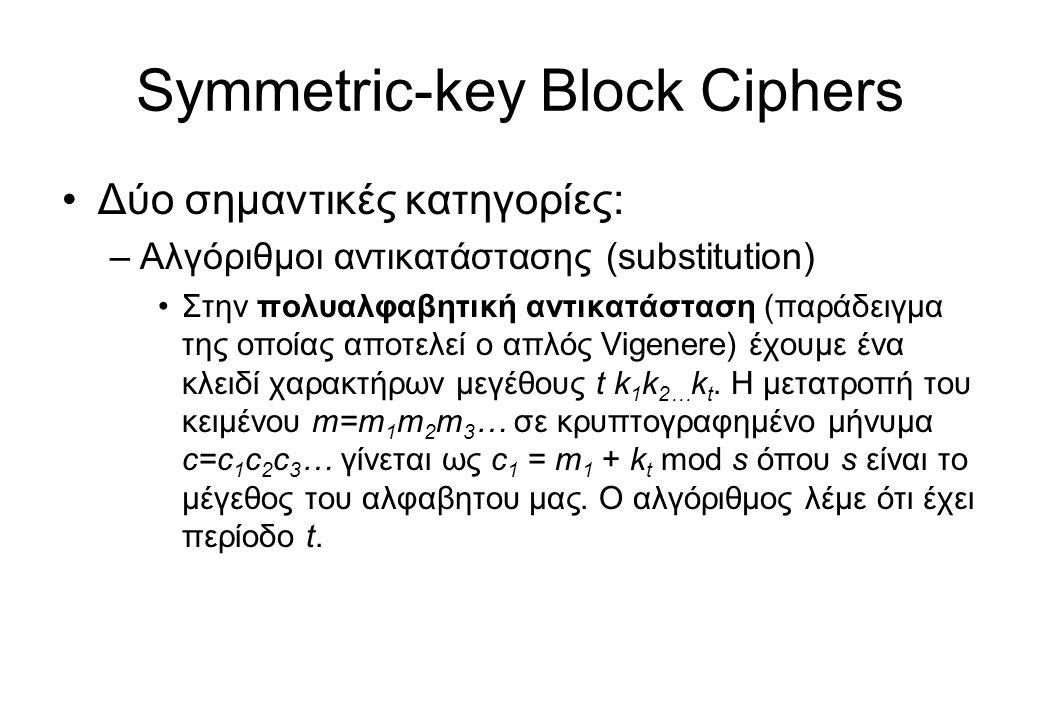 Symmetric-key Block Ciphers •Δύο σημαντικές κατηγορίες: –Αλγόριθμοι αντικατάστασης (substitution) •Στην πολυαλφαβητική αντικατάσταση (παράδειγμα της ο