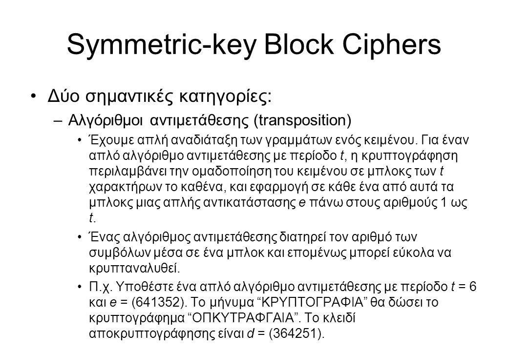 Symmetric-key Block Ciphers •Δύο σημαντικές κατηγορίες: –Αλγόριθμοι αντιμετάθεσης (transposition) •Έχουμε απλή αναδιάταξη των γραμμάτων ενός κειμένου.