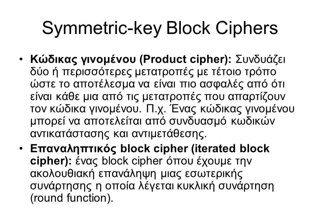Symmetric-key Block Ciphers •Κώδικας γινομένου (Product cipher): Συνδυάζει δύο ή περισσότερες μετατροπές με τέτοιο τρόπο ώστε το αποτέλεσμα να είναι π