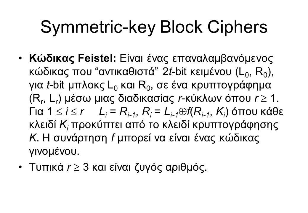 "Symmetric-key Block Ciphers •Κώδικας Feistel: Είναι ένας επαναλαμβανόμενος κώδικας που ""αντικαθιστά"" 2t-bit κειμένου (L 0, R 0 ), για t-bit μπλοκς L 0"