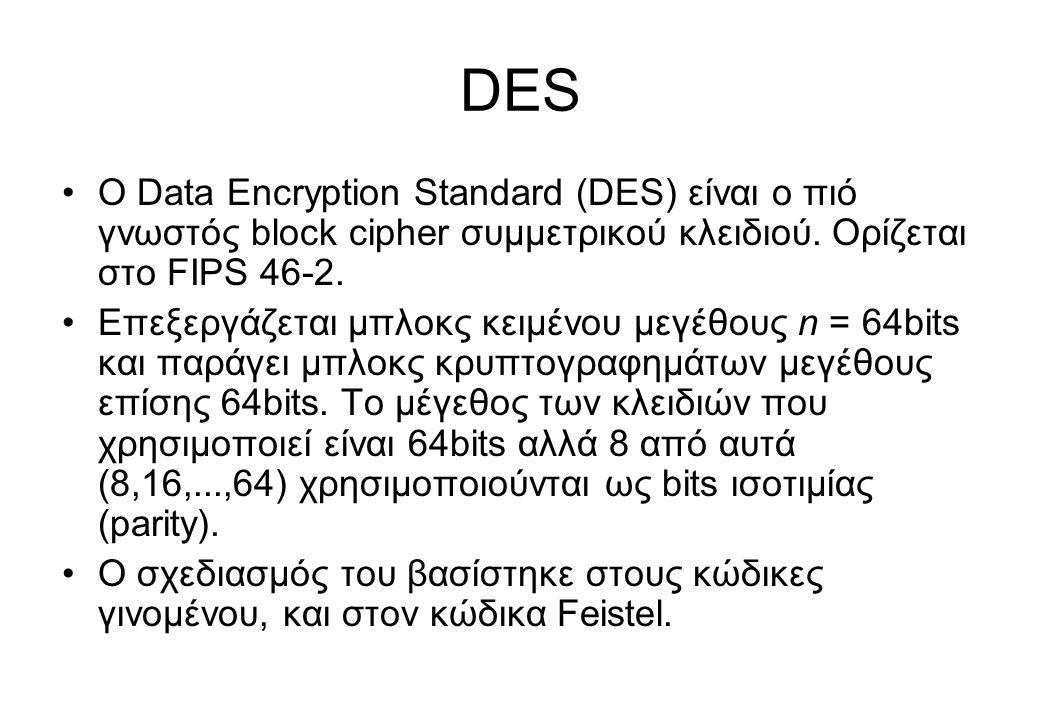DES •O Data Encryption Standard (DES) είναι ο πιό γνωστός block cipher συμμετρικού κλειδιού. Ορίζεται στο FIPS 46-2. •Επεξεργάζεται μπλοκς κειμένου με