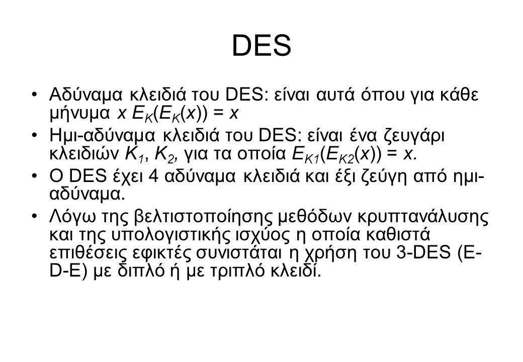 DES •Αδύναμα κλειδιά του DES: είναι αυτά όπου για κάθε μήνυμα x Ε Κ (Ε Κ (x)) = x •Ημι-αδύναμα κλειδιά του DES: είναι ένα ζευγάρι κλειδιών Κ 1, Κ 2, γ